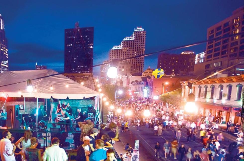 Dirty Sixth Street in Austin, Texas, drawing massive young crowds.