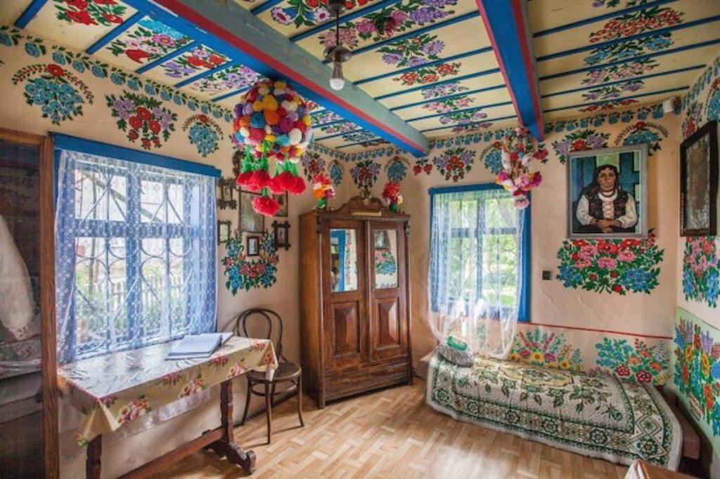 A room inside Felicja Curyłowa's cottage in Zalipie, Poland.