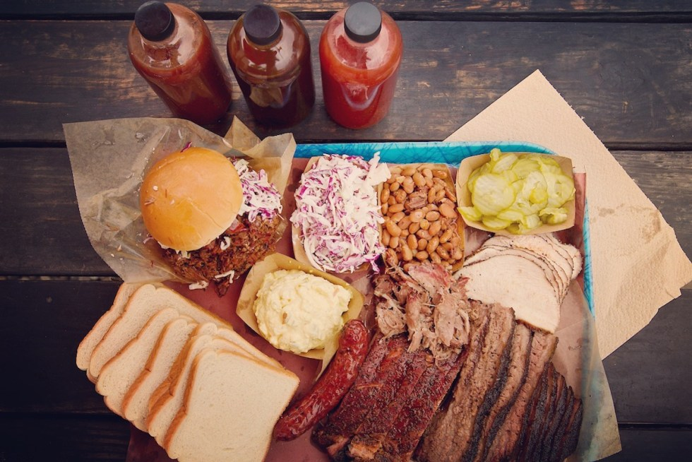 Delicious food served at Franklin Barbecue in Austin, Texas.
