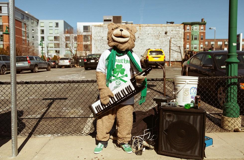 Well-known busker Keytar Bear spreading cuteness around Boston, Massachusetts.