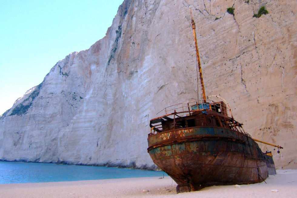 """""""Navagio"""" also known as """"Shipwreck Beach"""" or """"Smuggler's Cove"""" in Zakynthos, Greece."""