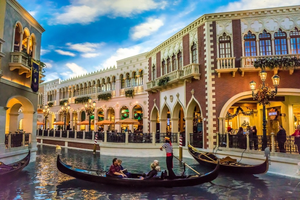 The Venetian Resort in Las Vegas, Nevada, offers romantic glides down the Grand Canal in authentic Venetian gondolas.
