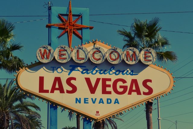"The iconic ""Welcome to Fabulous Las Vegas"" sign located on the Las Vegas Strip."