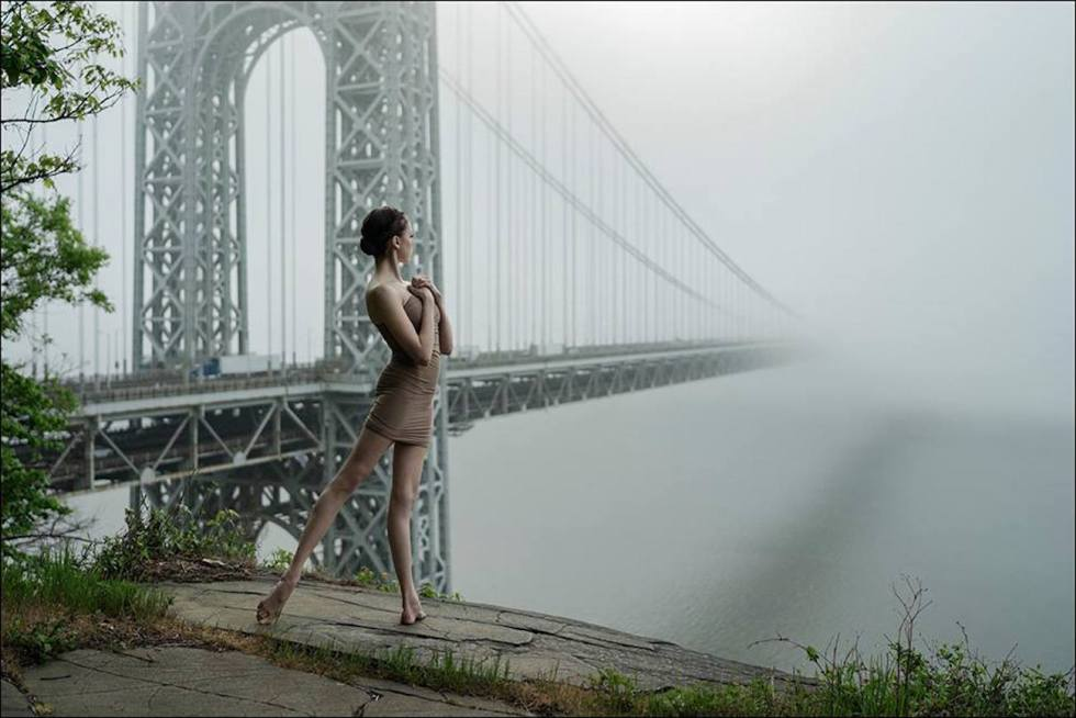 Katie Boren posing in New Jersey for the Ballerina Project.