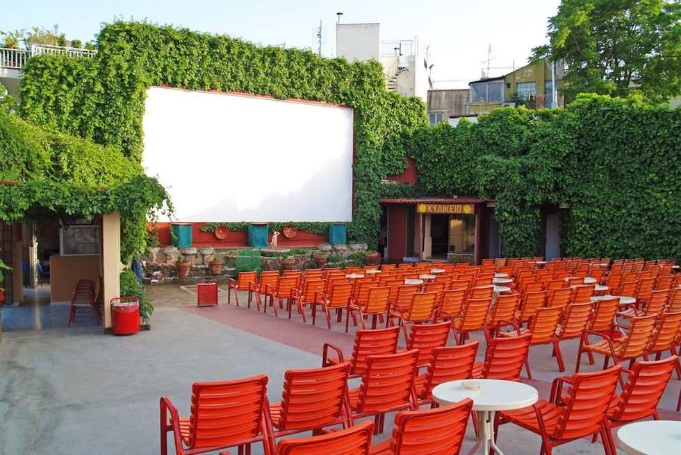 The open-air Cine Thisio in Athens, Greece.