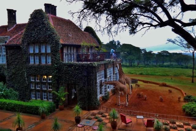 The exterior of Giraffe Manor in Nairobi, Kenya.
