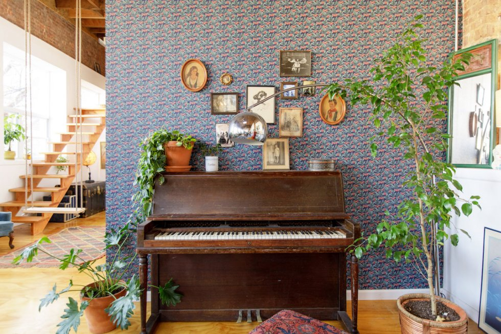 The Funky Loft piano in Bushwick, Brooklyn, New York.