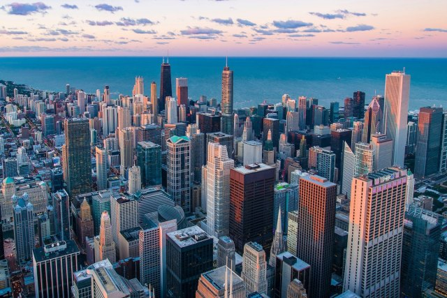 View from Willis Tower Skydeck in Chicago, United States.