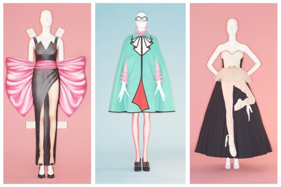 From Left to Right: Jeremy Scott (American, born 1975) for House of Moschino (Italian, founded 1983). Dress, spring/summer 2017. Courtesy of Moschino. Photo © Johnny Dufort, 2019 ~ Alessandro Michele (Italian, born 1972) for Gucci (Italian, founded 1921). Ensemble, fall/winter 2016–17. Courtesy of Gucci Historical Archive. Photo © Johnny Dufort, 2018 ~ Franco Moschino (Italian, 1950–1994) for House of Moschino (Italian, founded 1983). Dress, fall/winter 1989. Courtesy of Moschino. Photo © Johnny Dufort, 2018