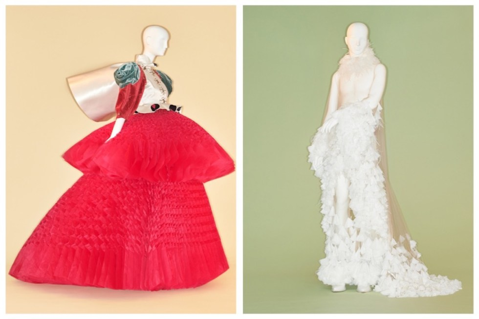 From Left to Right: Jun Takahashi (Japanese, born 1969) for Undercover (Japanese, founded 1990). Ensemble, fall/winter 2017–18. The Metropolitan Museum of Art, New York, Purchase, Friends of The Costume Institute Gifts, 2017 (2017.399a–d). Photo © Johnny Dufort, 2019 ~ Alejandro Gómez Palomo (Spanish, born 1992) for Palomo Spain (Spanish, founded 2015). Wedding ensemble, spring/summer 2018. Courtesy of Palomo Spain. Photo © Johnny Dufort, 2019