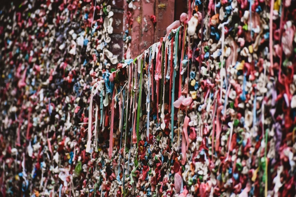 A closer look at the Seattle Gum Wall in Washington.
