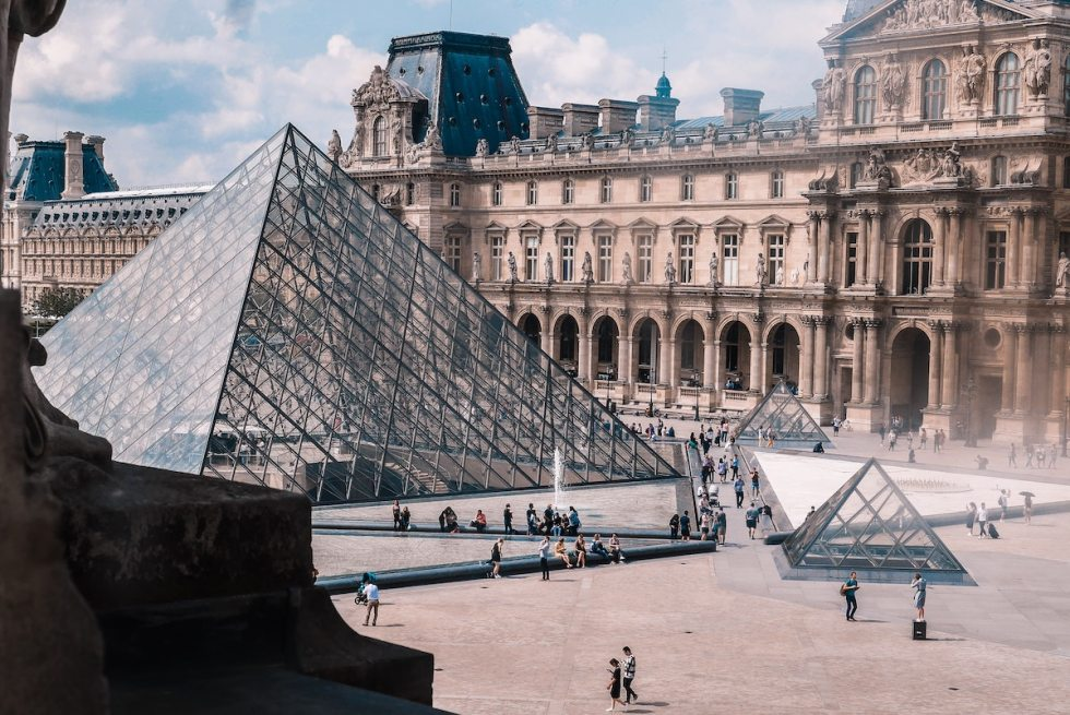 The glass and metal Louvre Pyramid in Paris, France.