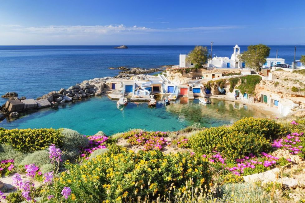 The picturesque fishing village of Mandrakia in Milos, Greece.