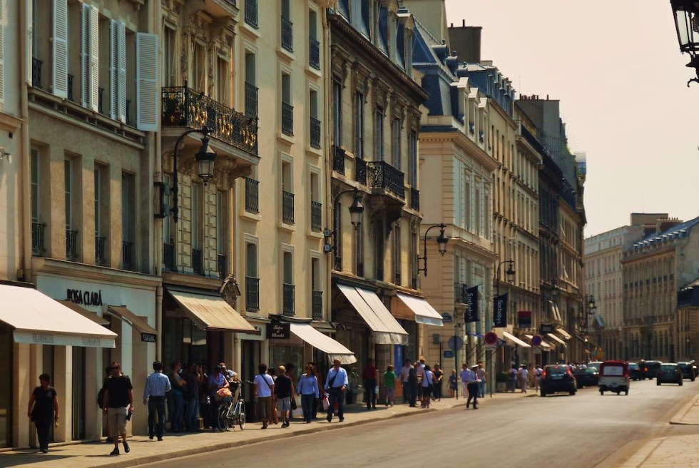 The rue du Faubourg Saint-Honoré in Paris, France.
