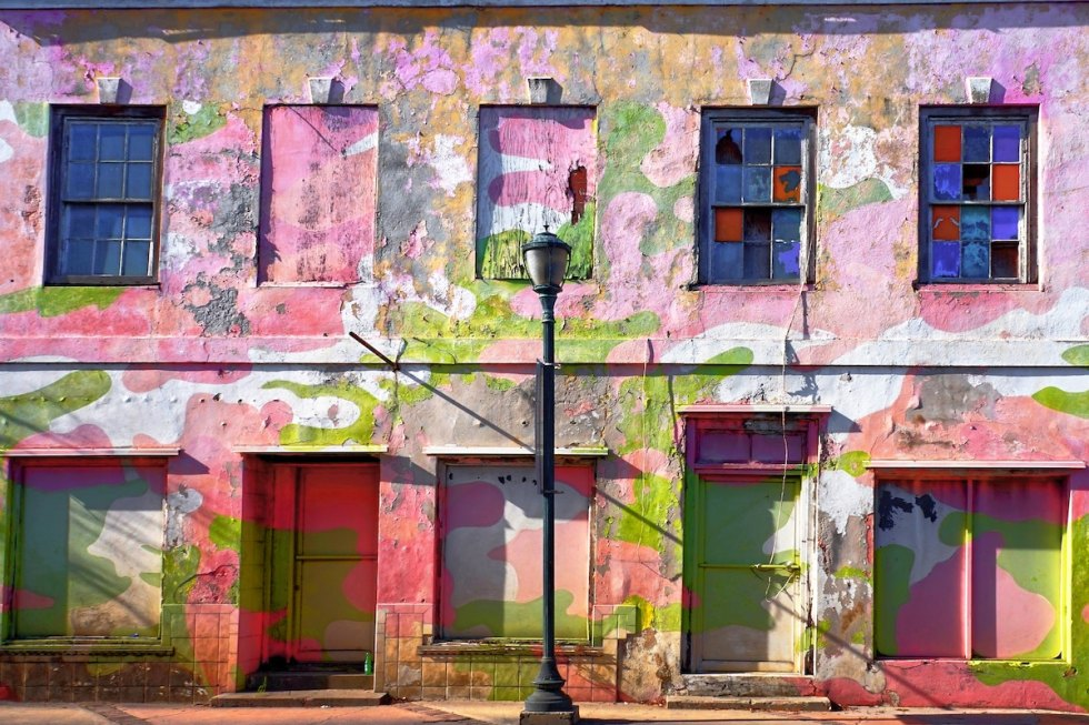 Colorful building on Bay Street, Nassau, The Bahamas.