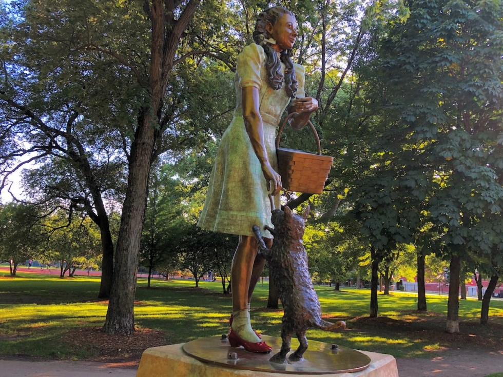 """Dorothy and Toto"" statue, W. Webster Ave. (near 700 W.), Oz Park, Chicago, Illinois."