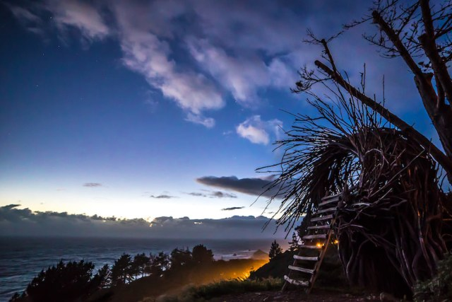 Human-sized nest overlooking the Pacific Ocean
