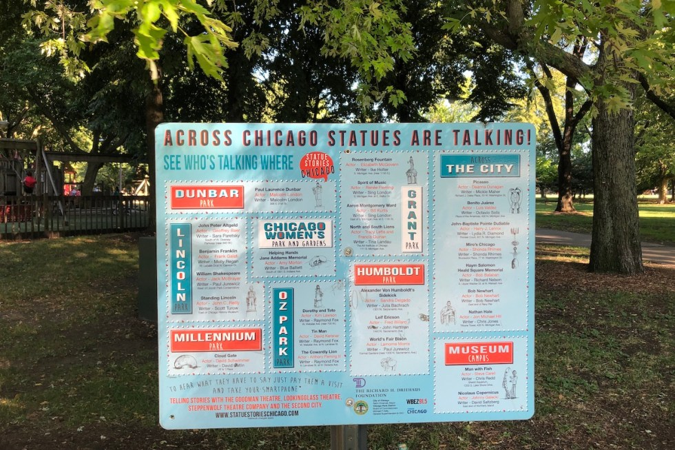 Statue Stories Chicago sign depicting which statue is talking where, Oz Park, Chicago, Illinois.