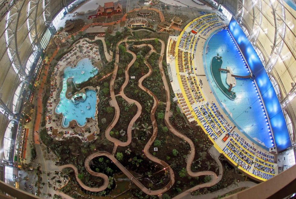 Tropical Islands resort interior in Germany from above