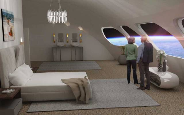Space hotel's guest room