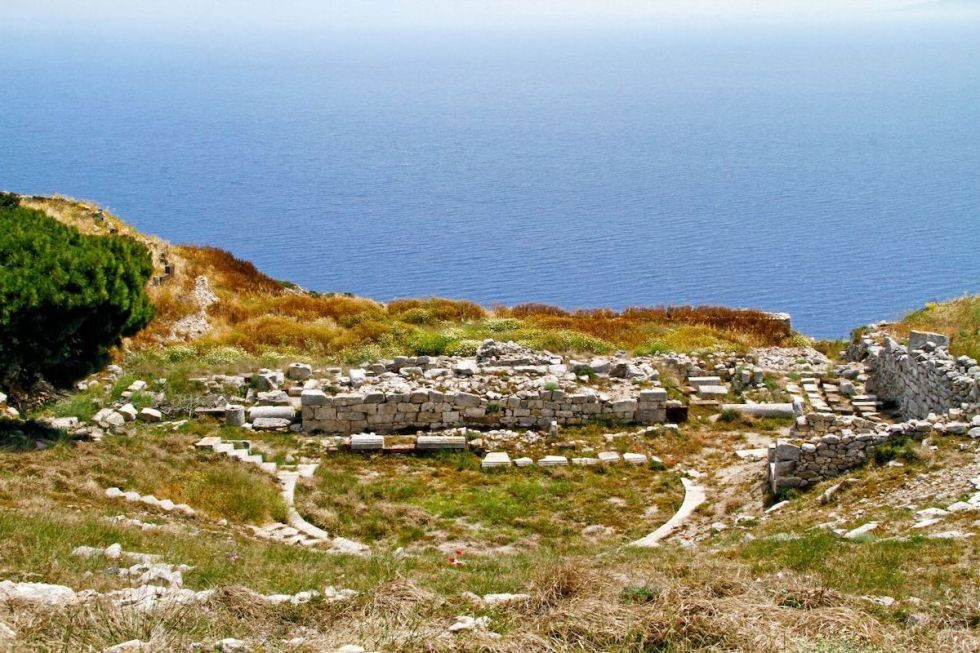 View to the sea from the Ancient Thera ruins