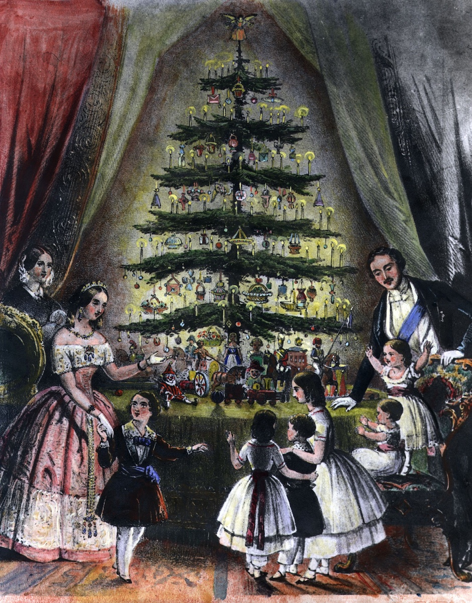 The royal Christmas tree of Queen Victoria, Prince Albert and their children at Windsor Castle (December 1848)