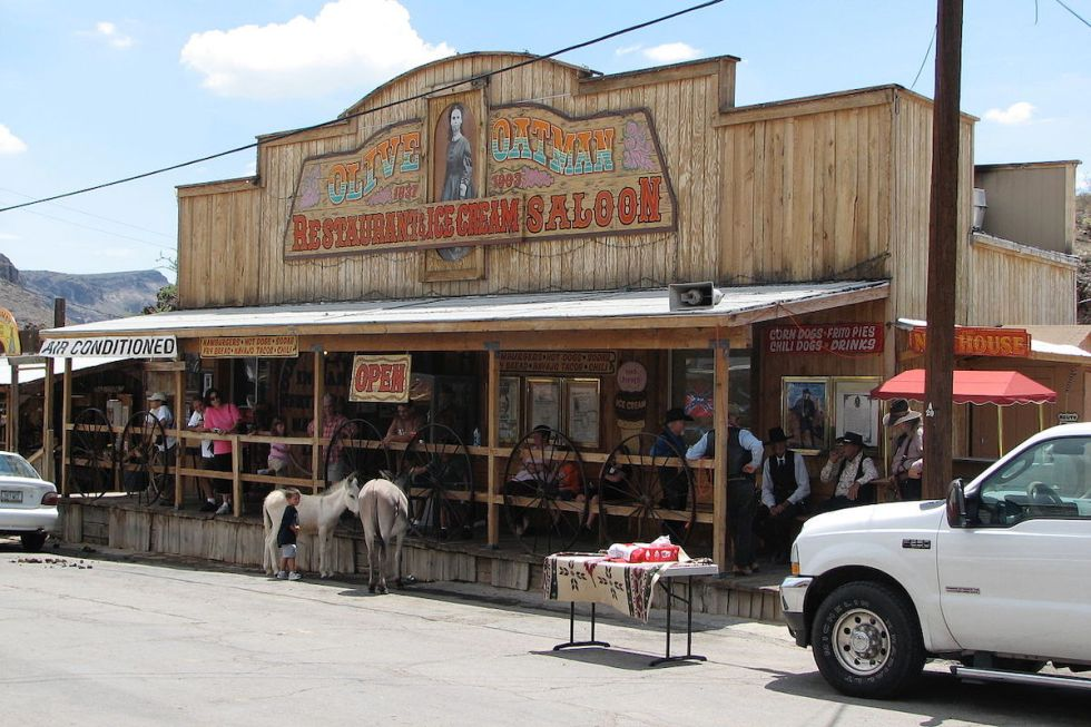 Burros outside Olive Oatman Restaurant and Saloon