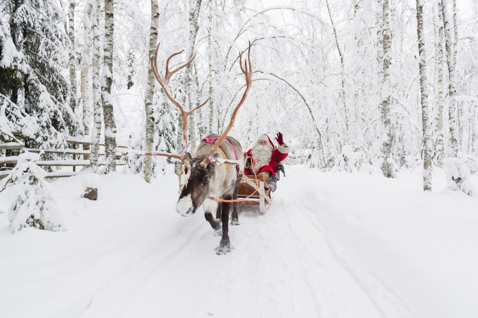 Santa Claus reindeer sleigh ride in Rovaniemi, Finland