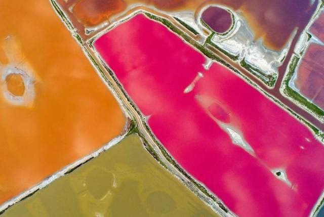 The colorful Yuncheng Salt Lake in China