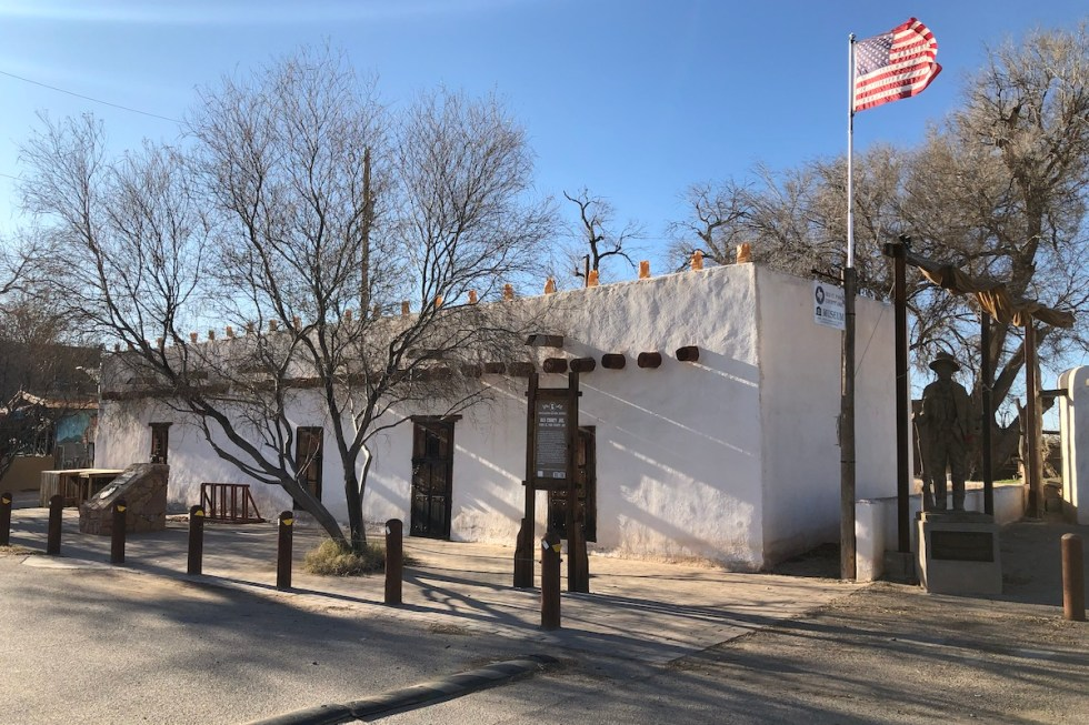 """First El Paso County Jail and """"Billy the Kid"""" statue"""