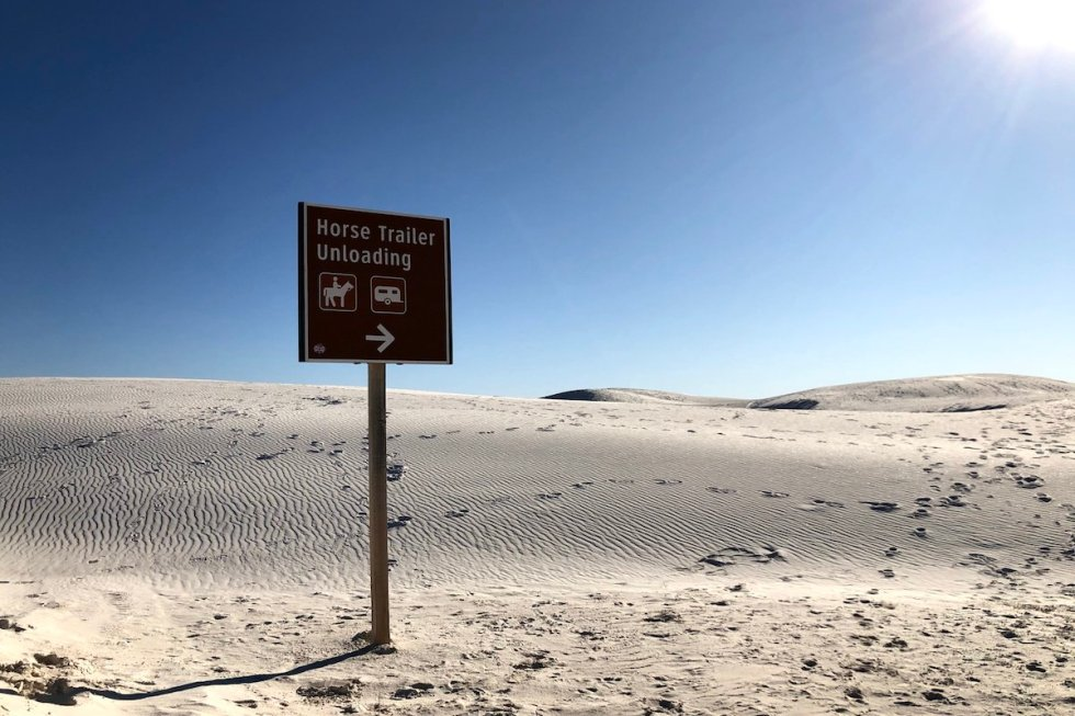 White Sands National Monument horse trailer unloading sign