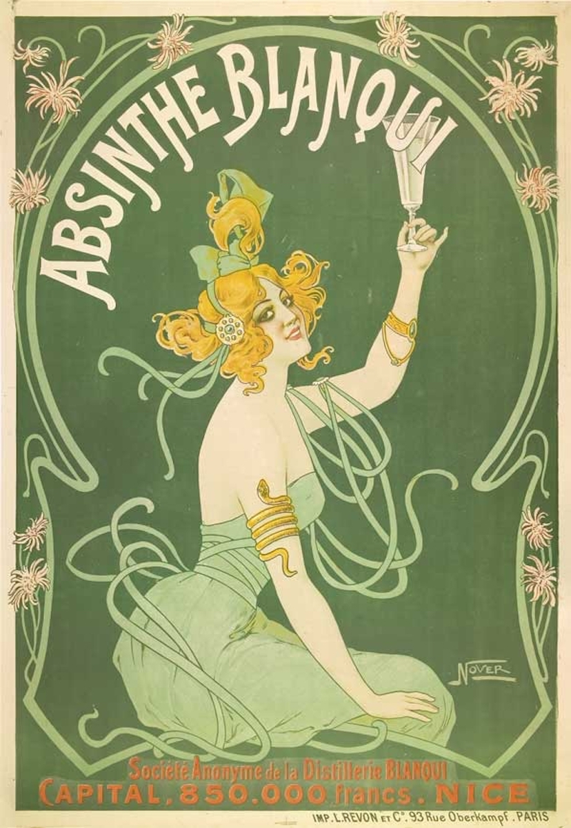 Poster for absinthe Blanqui, designed in the 1900's by Nover