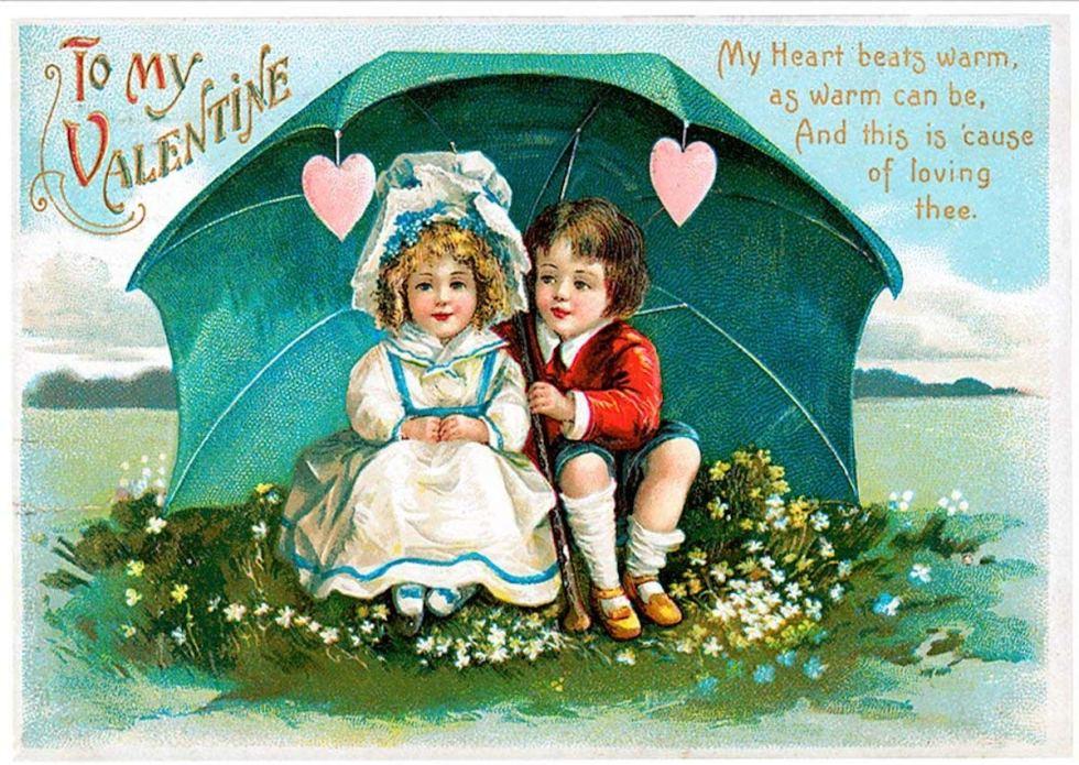 An antique Saint Valentine's Day postcard