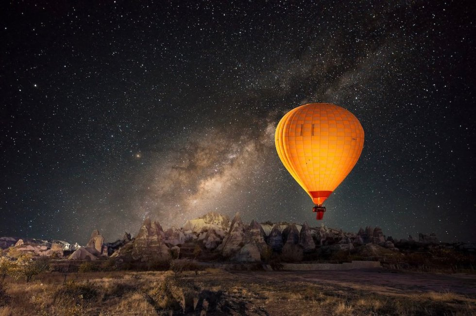 Desert safari at night with hot air balloon