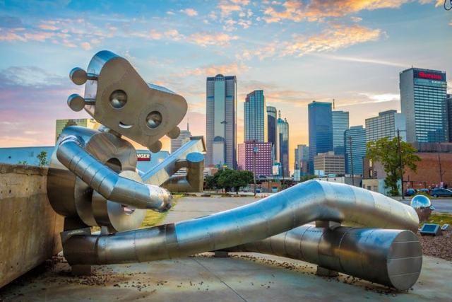 'Waiting on a Train,' the second sculpture in 'The Traveling Man' series, in Deep Ellum, Dallas