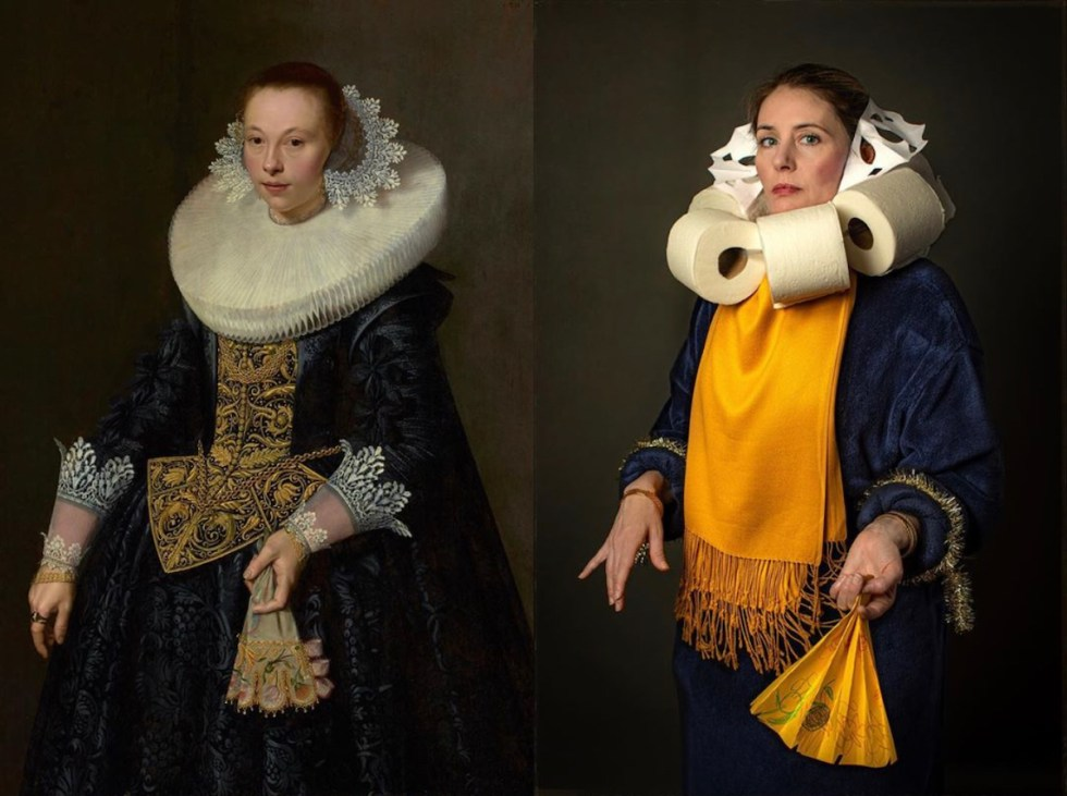 Bryan Beasley's lovely wife, Coco, as Nicolaes Pickenoy's 'Portrait of a Young Woman' with a toilet paper collar
