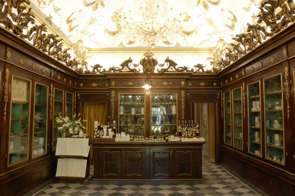 indoor view of historical pharmacy Santa Maria Novella in Florence, Italy