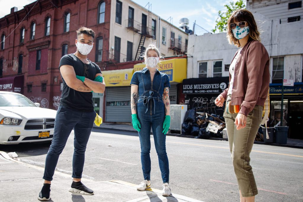 "artist Cameron Loeb and friends wearing one-of-a-kind masks of the kind created for the ""Masks in the Wild"" public health art project"