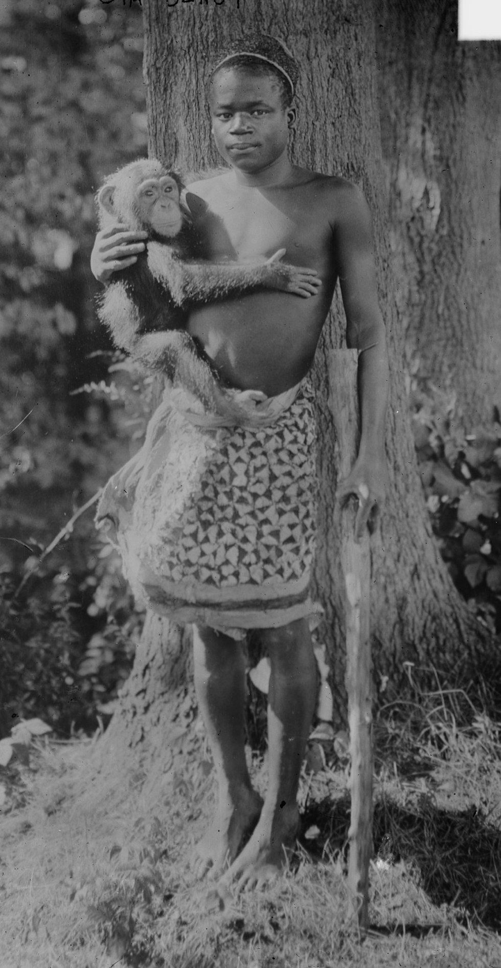 Ota Benga at the Bronx Zoo holding a chimpanzee