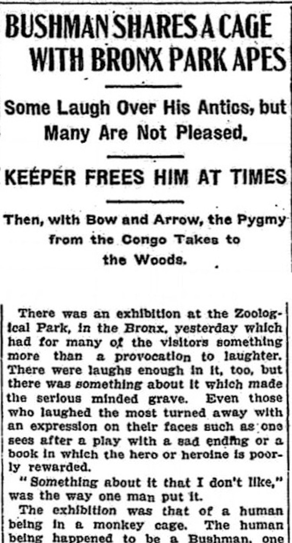 The New York Times report about Ota Benga on September 9, 1906