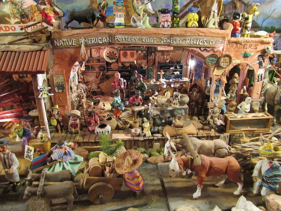 hand-carved diorama of an Old West scene