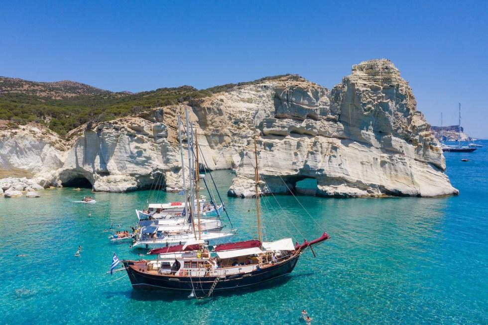 Yachts at Kleftiko on Milos Island Greece
