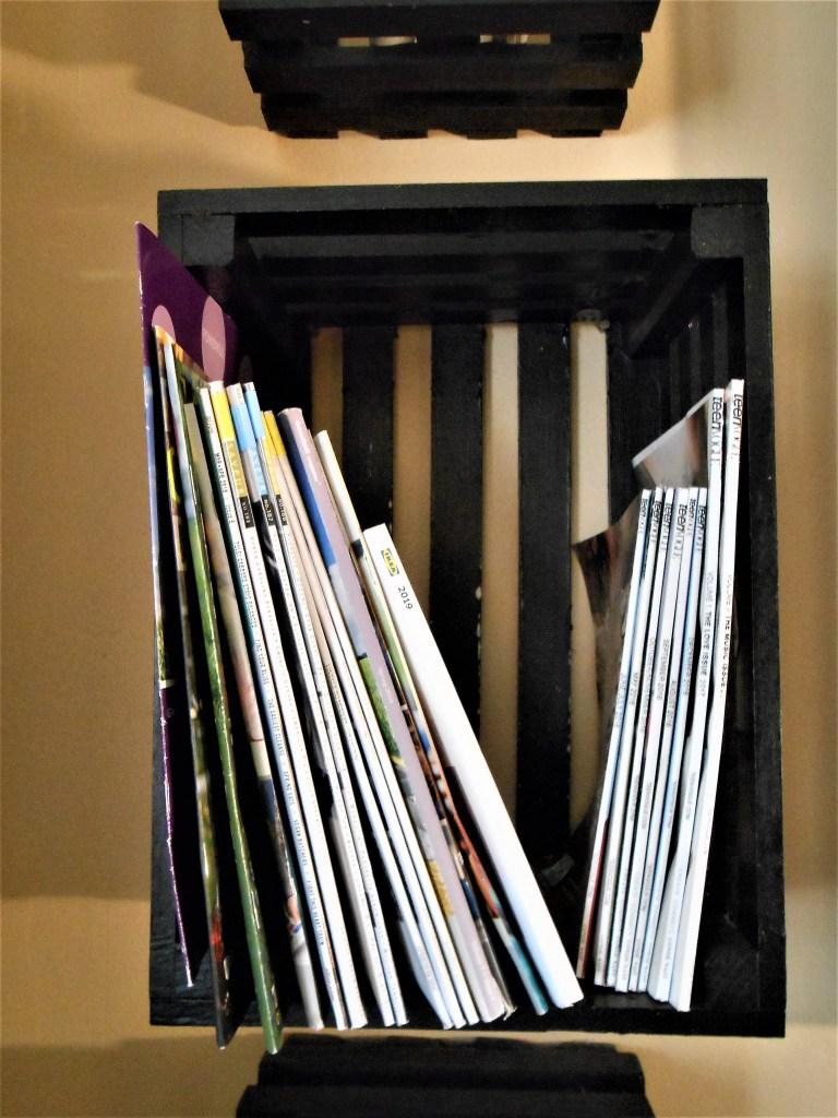 crates, laundry, magazines