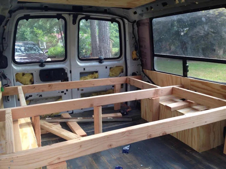 The bed frame in our DIY van conversion