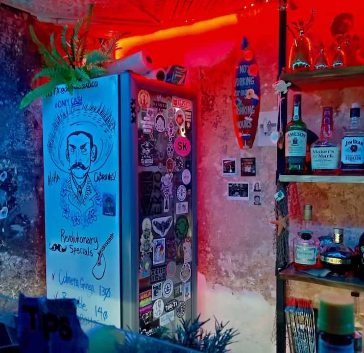 Funky Mexican drawings and lighting of Aloha Oaxaca