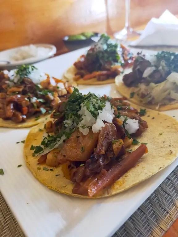 Korean Mexican tacos from Asiarico7 one of the best restaurants in San Cristobal de las Casas