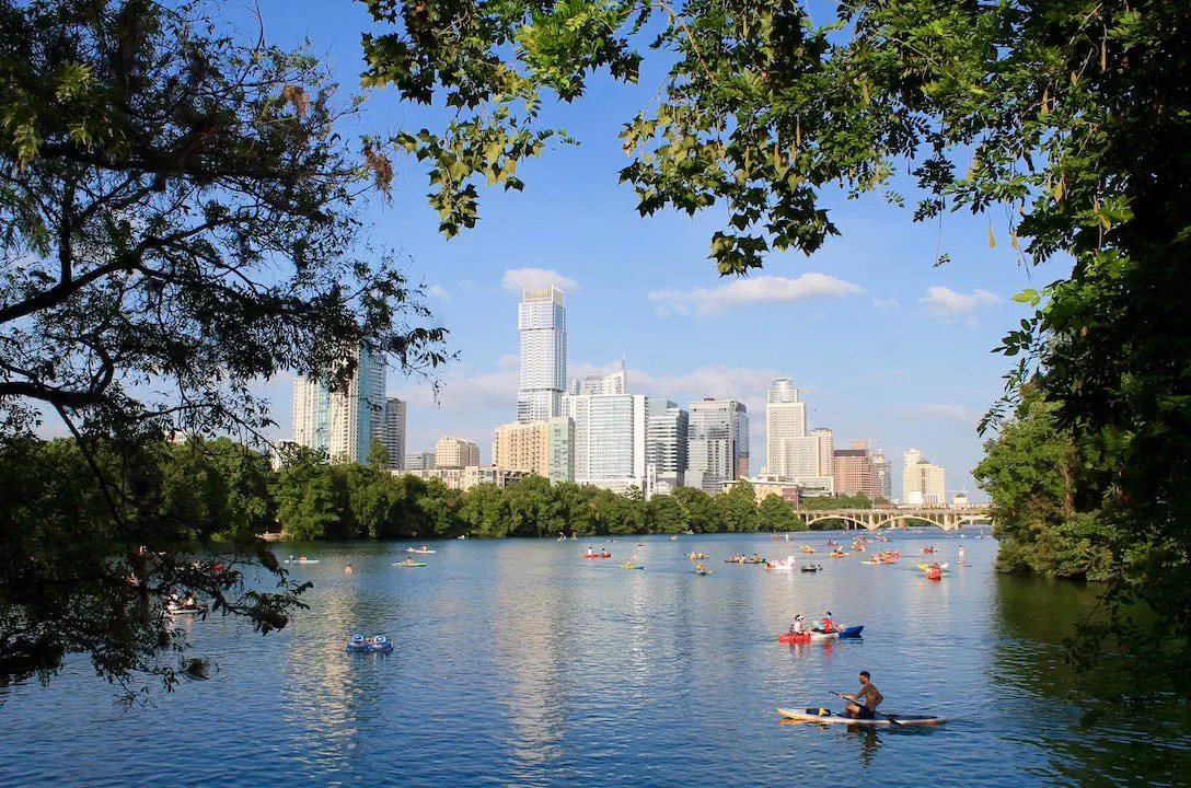 Personal Watercraft rule the seas here on Austin's Lady Bird Lake where motorboats are banned
