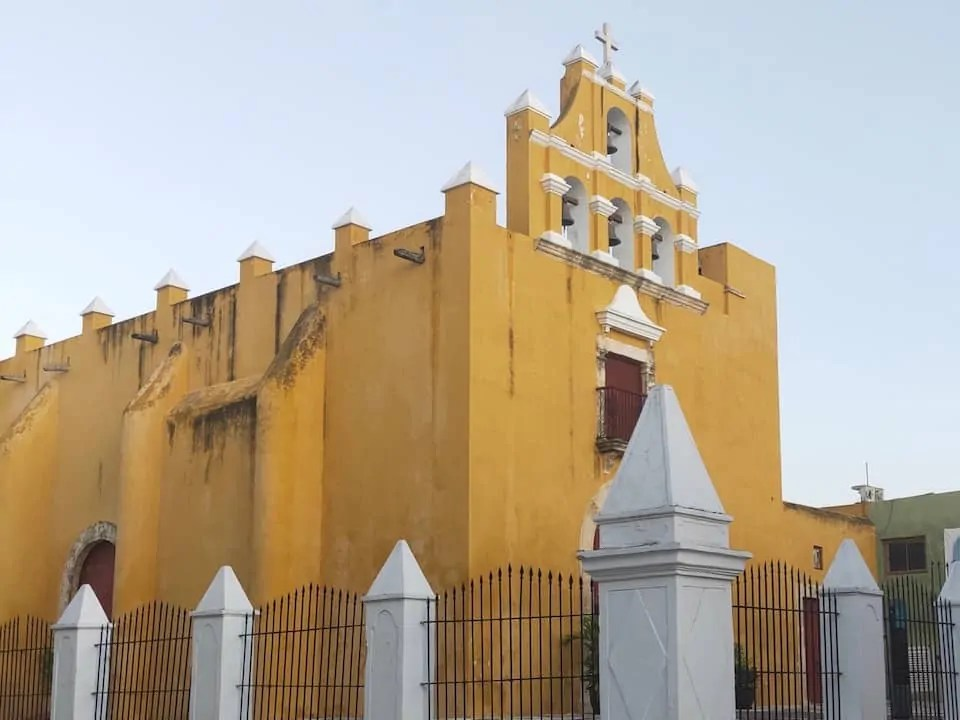 The yellow church displaying the colours of Campeche's Baroque architecture