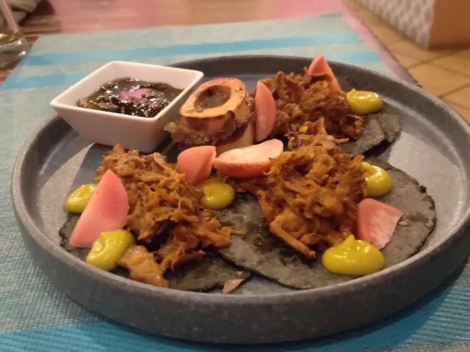 Braised beef tacos with bone marrow at La María Cocina Peninsular