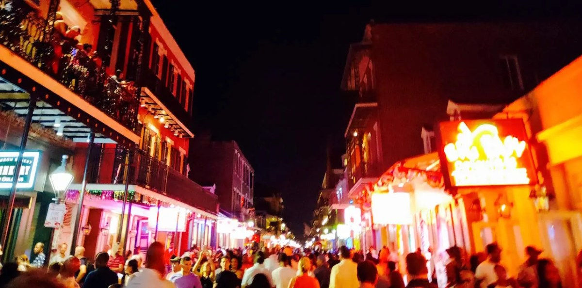 Crowded Bourbon Street after a few too many beers